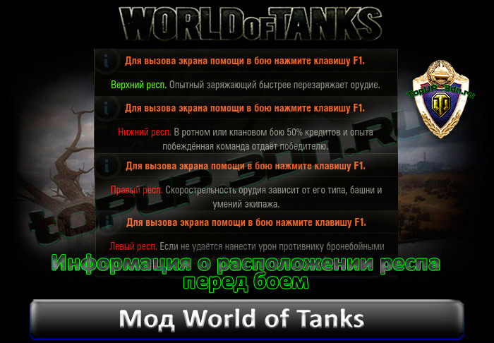 Мод Информация о расположении респа перед боем для World of Tanks 0.9.7