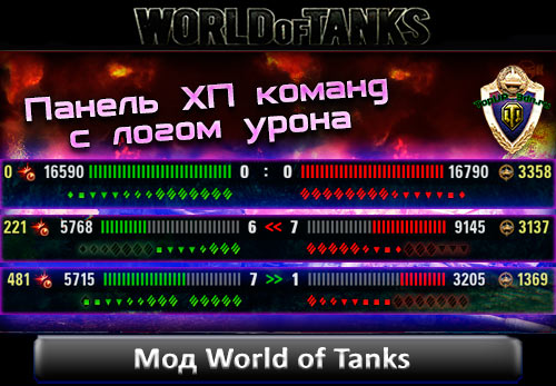 Панель ХП команд c логом урона WoT 0.9.16 для World of Tanks