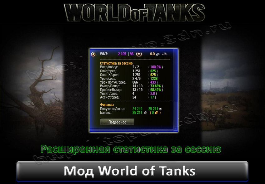 Расширенная статистика за сессию для World of tank 0.8.10